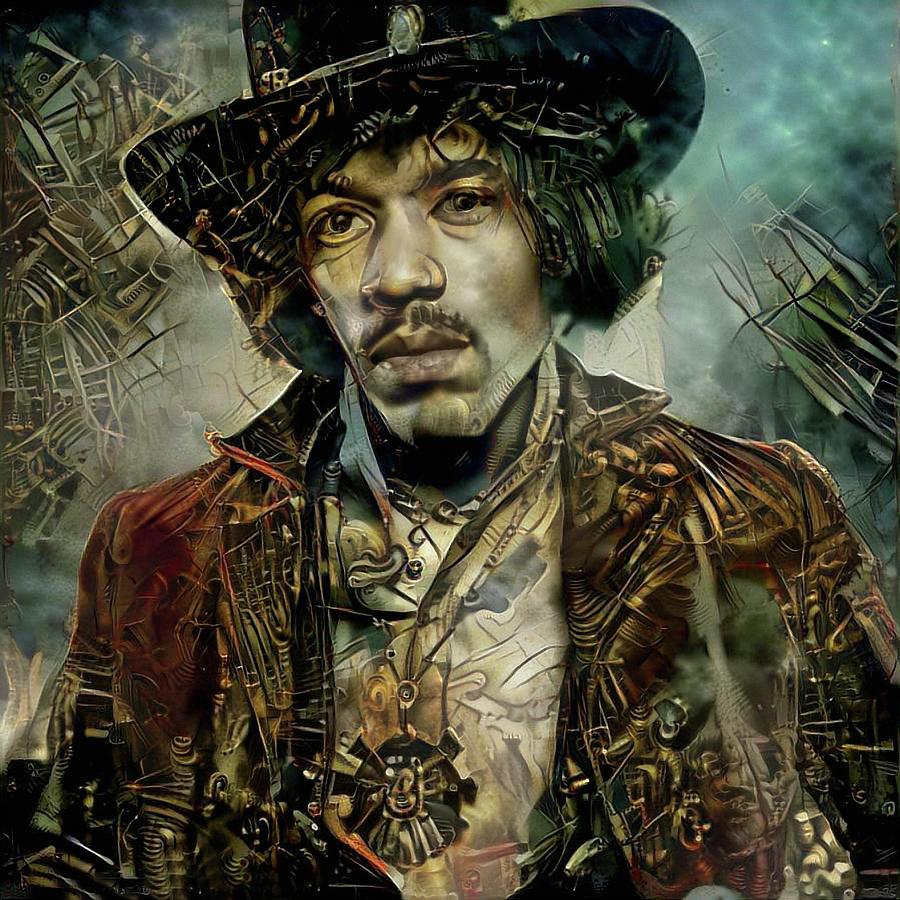 Jimi Hendrix Mixed Media - Jimi Hendrix Steampunk style by Lilia D
