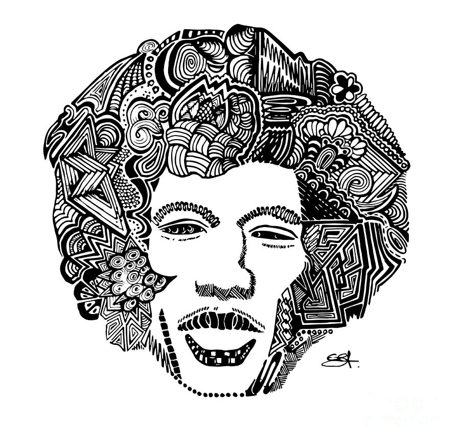 jimi hendrix zentangle doodle by see saw