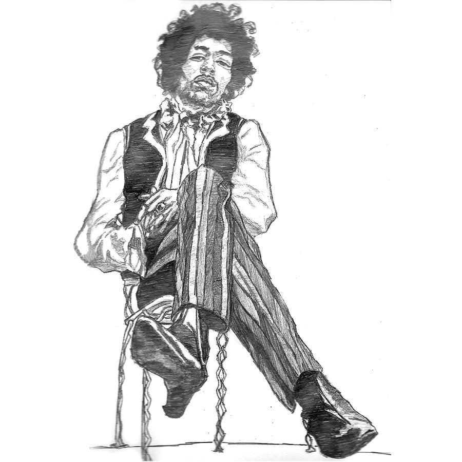 Jimi Hendrix Painting - Jimi by Rachel Natalie Rawlins