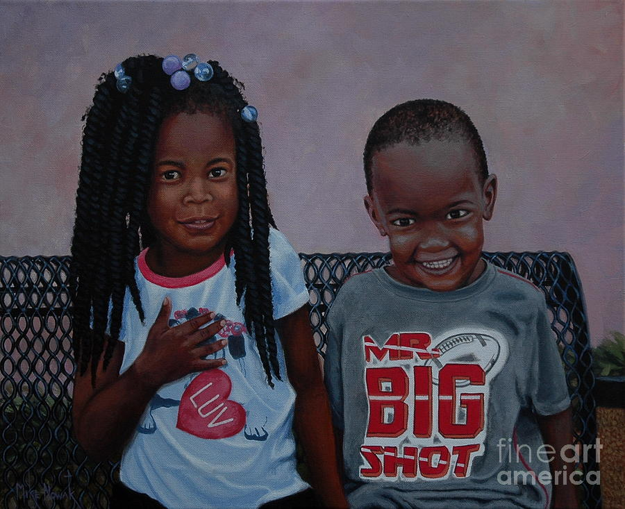 Children Painting - Jimia And Mr Bigshot by Michael Nowak