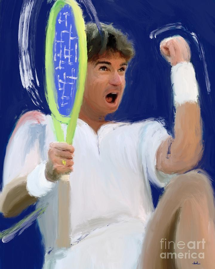 Jimmy Connors Painting - Jimmy Connors by Jack Bunds