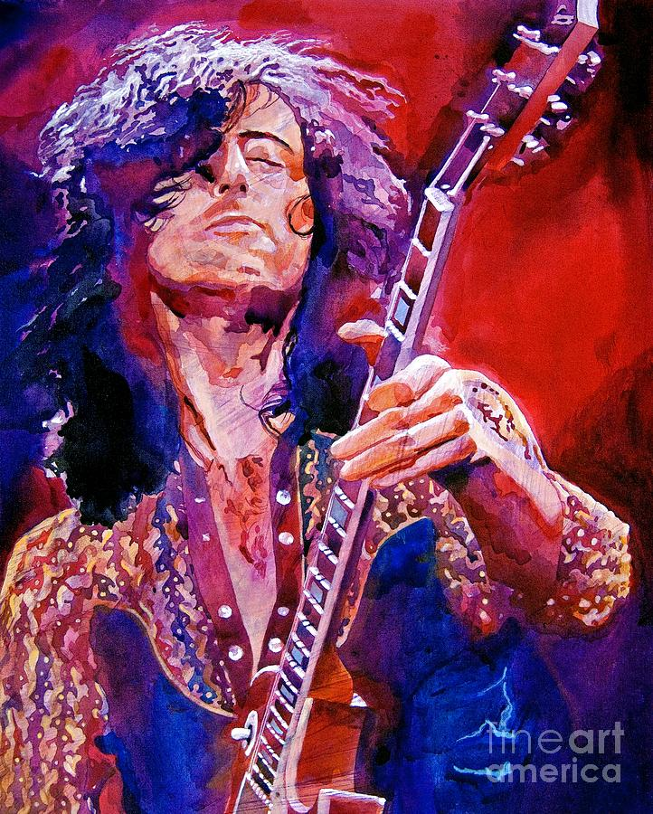 Jimmy Page Painting By David Lloyd Glover