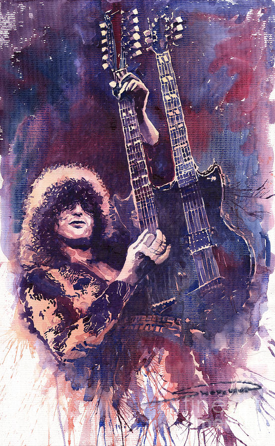 Watercolour Painting - Jimmy Page  by Yuriy Shevchuk