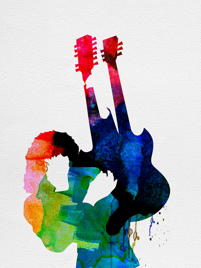 Jimmy Page Painting - Jimmy Watercolor by Naxart Studio