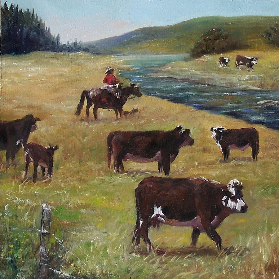 Cattle Painting - Jims Cattle by Donna Munsch