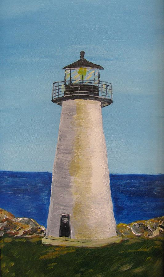 Lighthouse Painting - Jims Memorial by Dennis Poyant