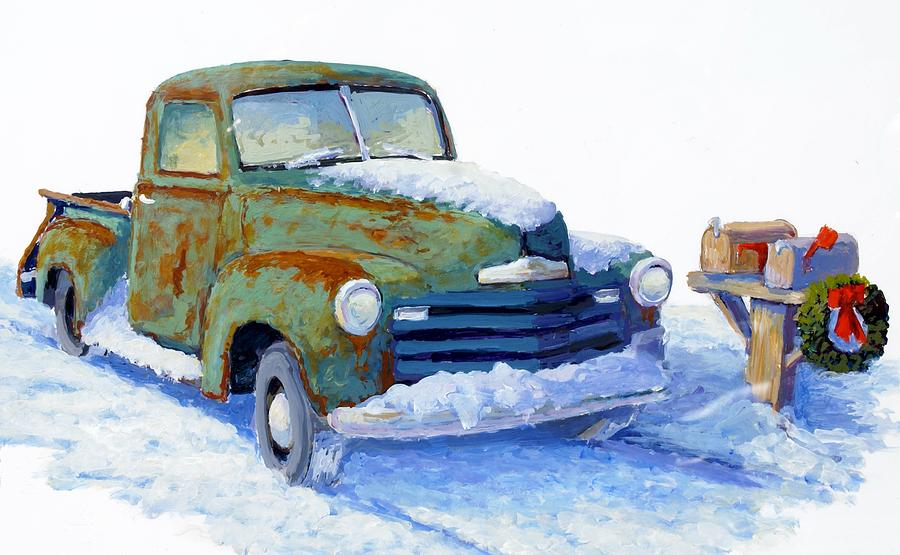 Old Truck Painting - Jingle Bells by Bob  Adams