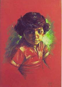 Portrait Painting - Jinja In Red T-shirt by Tina Siddiqui