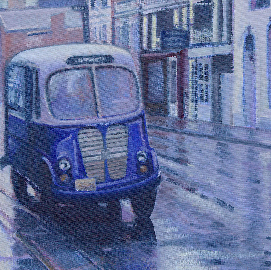 Jitney Painting - Jitney Ride In The Rain by Suzn Smith