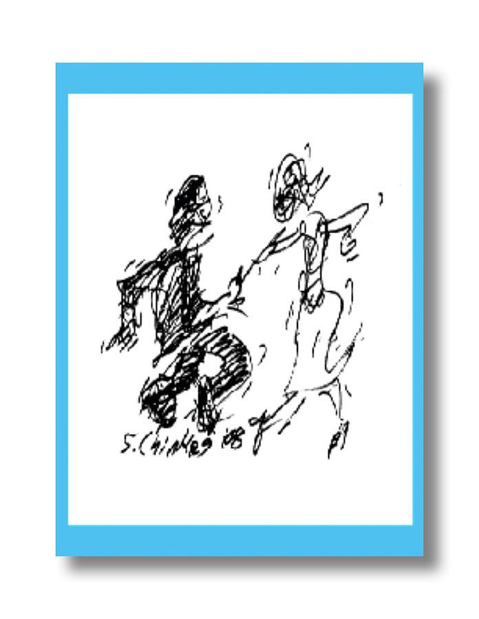Jitterbug Drawing - Jitterbug by Sam Chinkes