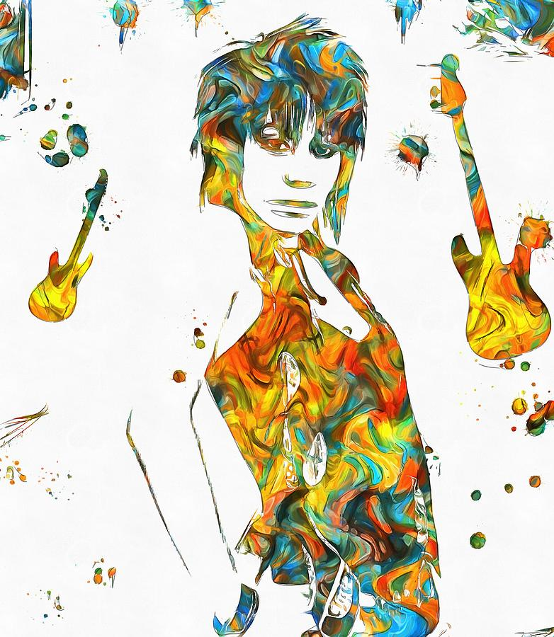 Colorful Painting - Joan Jett Colorful Paint Splatter by Dan Sproul