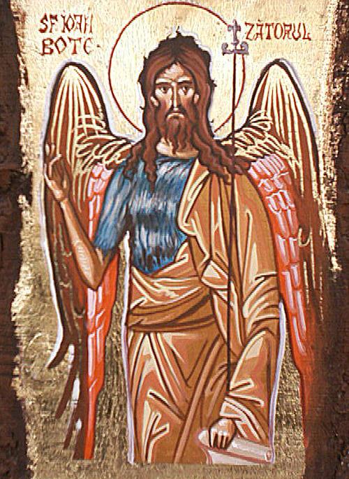 Icon Painting - Joan The Baptist by Prisecaru Radu