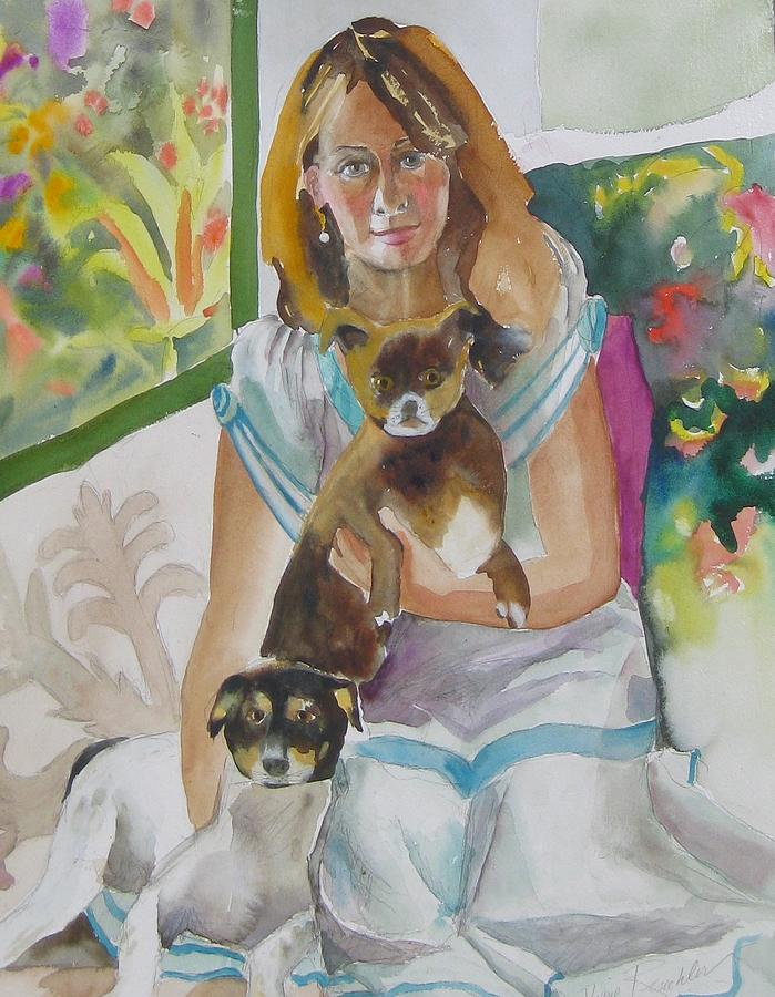 Portraits Painting - Joann And Her Pets by Diane Renchler