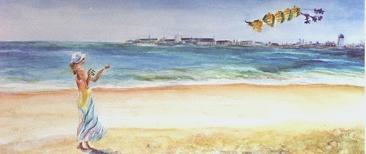 Beach Painting - Joann Flies A Kite by Laura McMillan