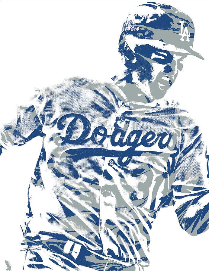 Dodgers Mixed Media - Joc Pederson Los Angeles Dodgers Pixel Art 10 by Joe Hamilton