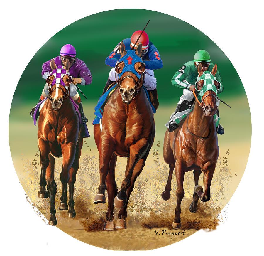 Horses Painting - Jockeys by Valer Ian