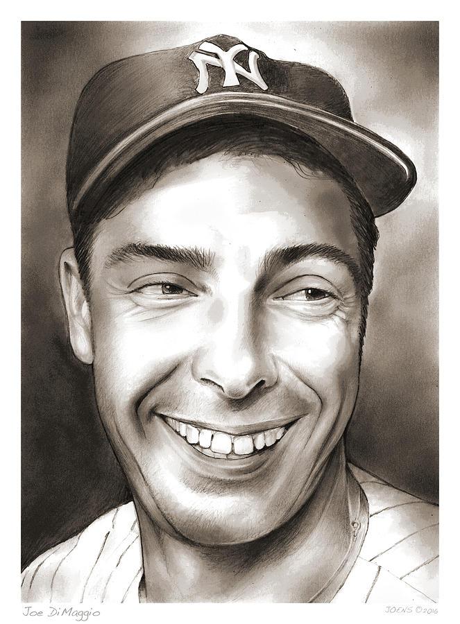 Joe Dimaggio Drawing - Joe DiMaggio by Greg Joens