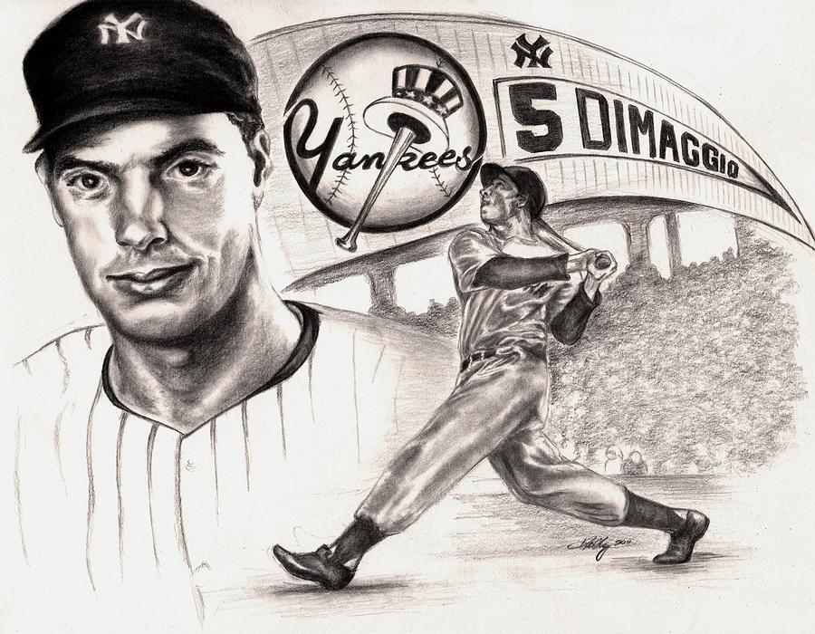 Dimaggio Drawing - Joe Dimaggio by Kathleen Kelly Thompson