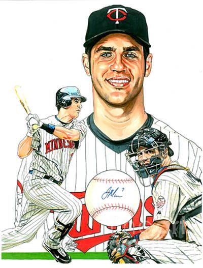 Baseball Drawing - Joe Mauer by Neal Portnoy