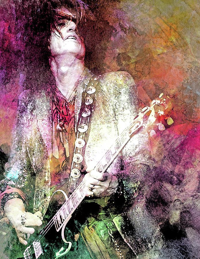 Joe Perry Mixed Media - Joe Perry Aerosmith by Mal Bray