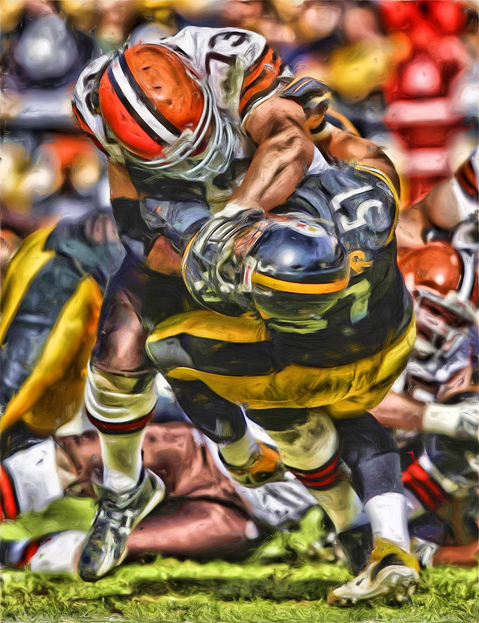 Joe Thomas Mixed Media - Joe Thomas Cleveland Browns Oil Painting by Joe Hamilton