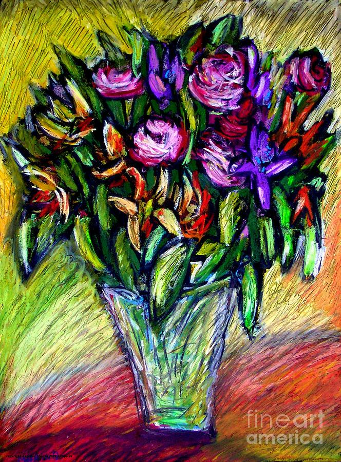 Pink Roses Painting - Joels Roses 1 by Angelina Marino