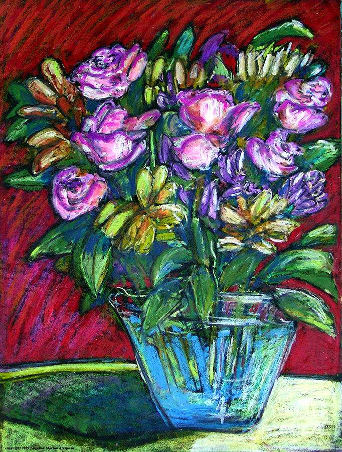 Pink Roses Painting - Joels Roses 2 by Angelina Marino