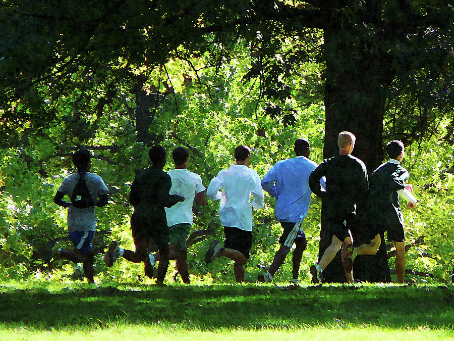 Summer Photograph - Joggers In The Park by Susan Savad