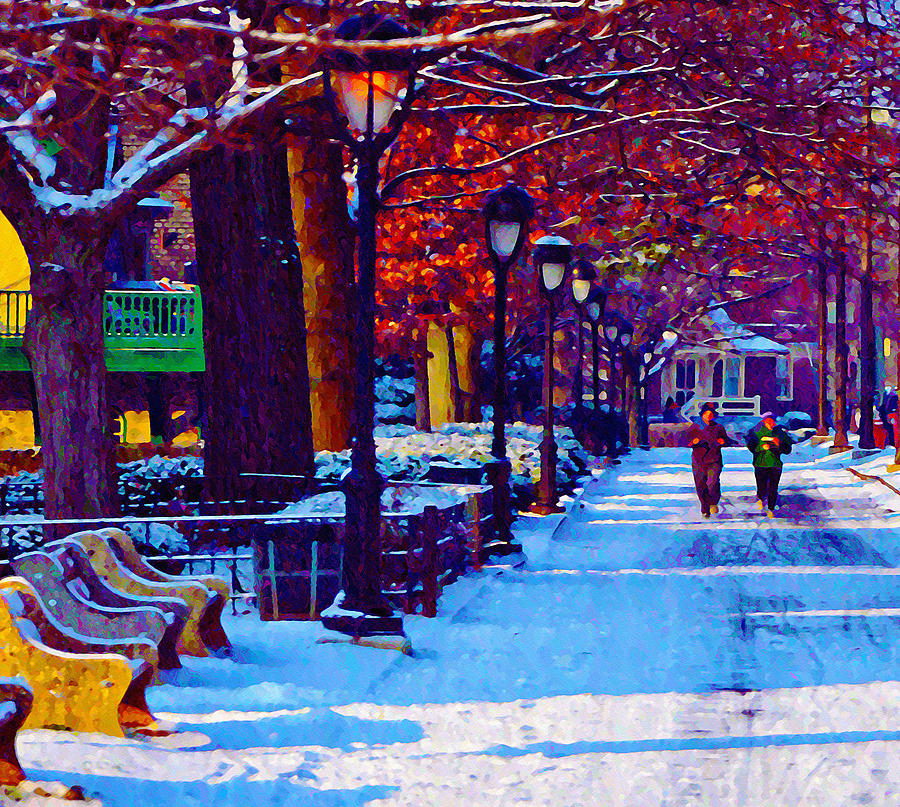 Boathouse Photograph - Jogging In The Snow Along Boathouse Row by Bill Cannon