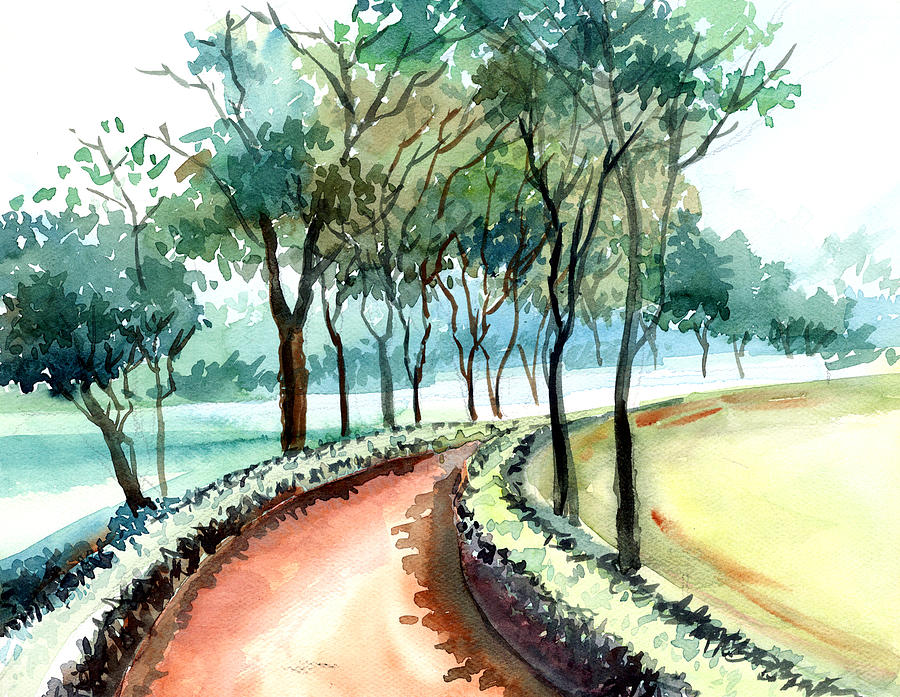 Landscape Painting - Jogging Track by Anil Nene