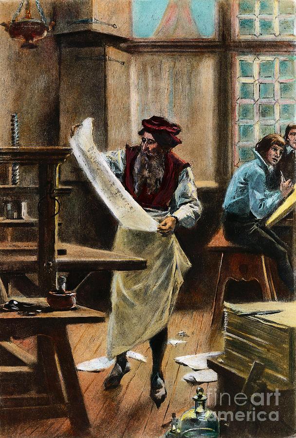 15th Century Drawing - Johann Gutenberg by Granger