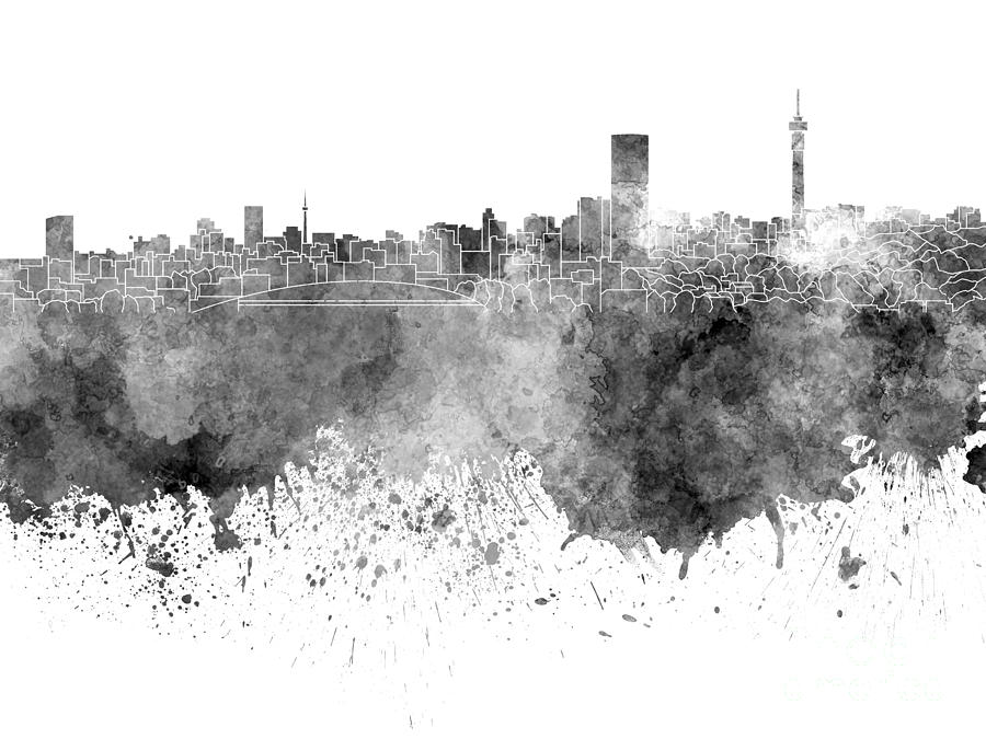 Johannesburg skyline painting johannesburg skyline in black watercolor on white background by pablo romero