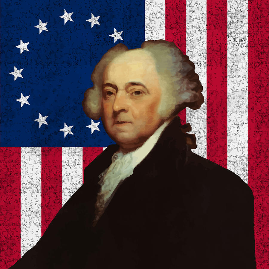 John Adams Painting - John Adams And The American Flag by War Is Hell Store