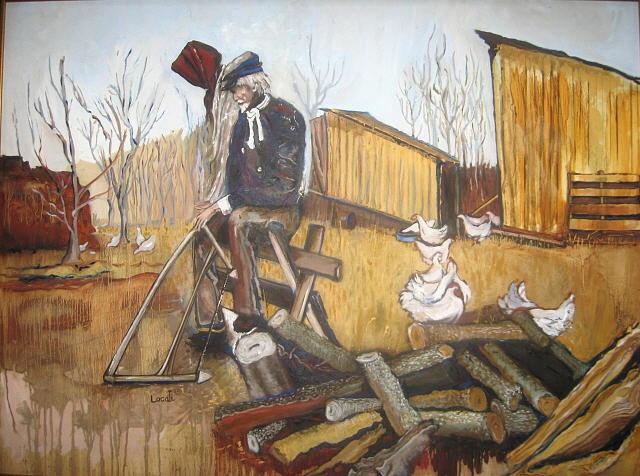 John Hartman Painting - John And Mary Hartman At The Woodpile by Lila Witt Locati