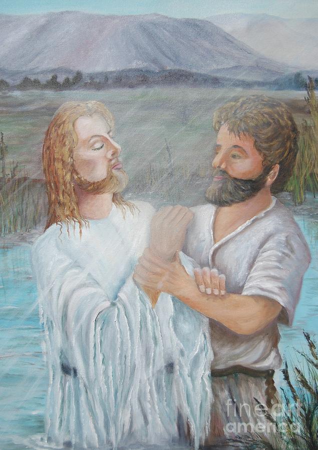 Jesus Painting - John Baptizing Jesus by Janna Columbus
