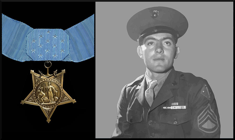 Medal Of Honor Painting - John Basilone And The Medal Of Honor by War Is Hell Store