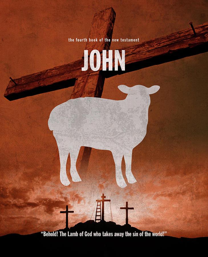 John Mixed Media - John Books Of The Bible Series New Testament Minimal Poster Art Number 04 by Design Turnpike