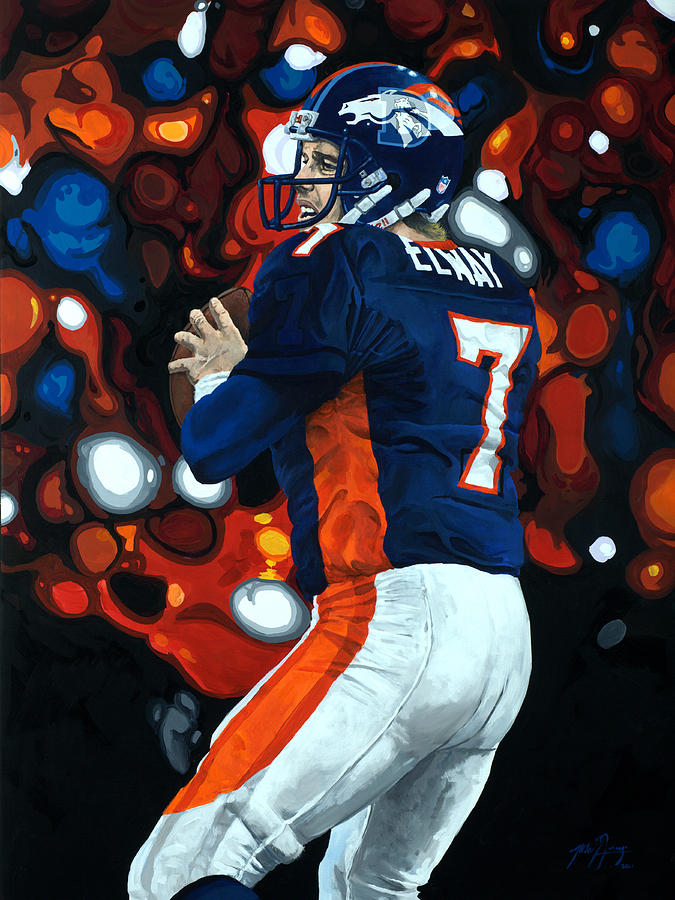 Denver Painting - John Elway - Legacy by Mike Lorenzo