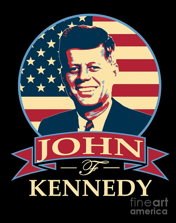 Jfk Digital Art - John F Kennedy American Banner Pop Art by Filip Hellman
