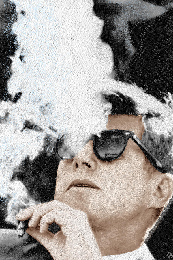 Kennedy Sunglasses  john f kennedy cigar and sunglasses 2 large painting by tony rubino