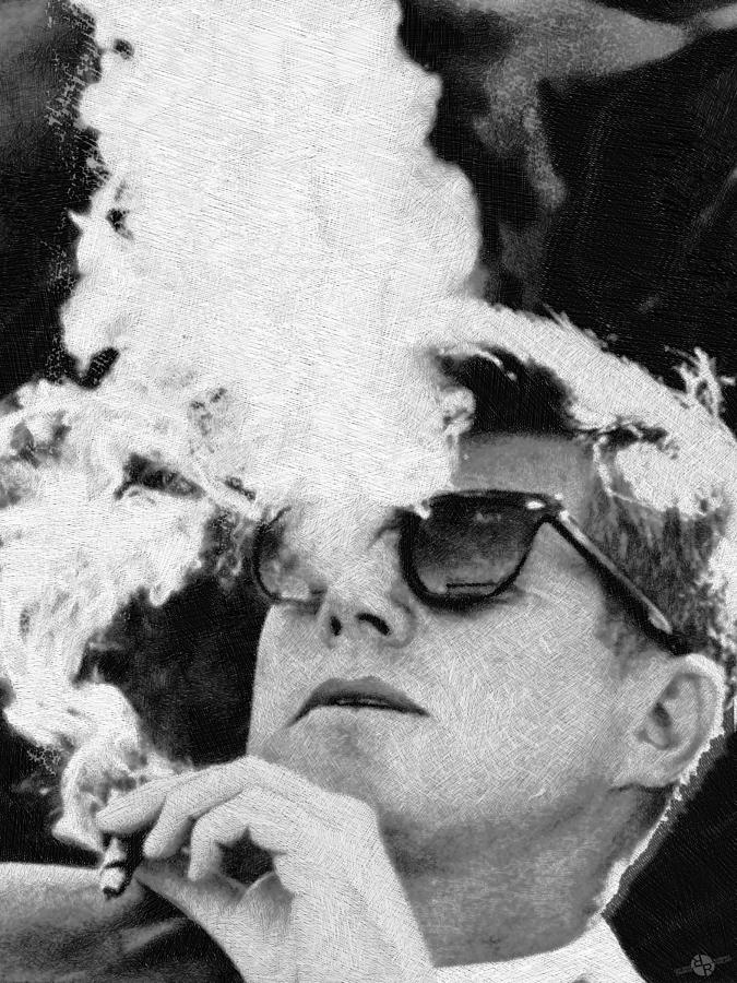 President painting john f kennedy cigar and sunglasses black and white by tony rubino