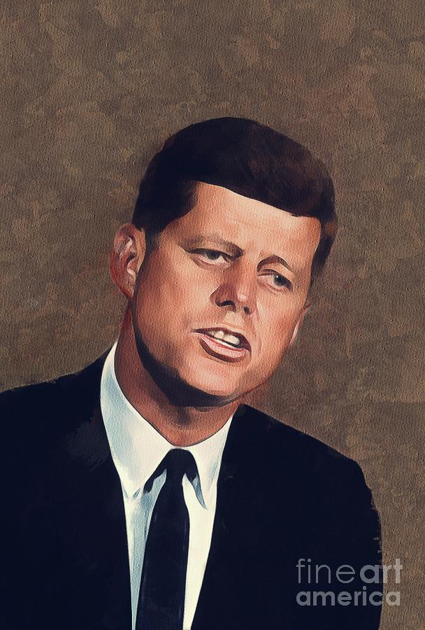 John Painting - John F. Kennedy, President  by Mary Bassett