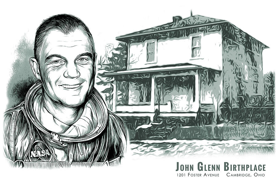 John Glenn Birthplace Bw Mixed Media