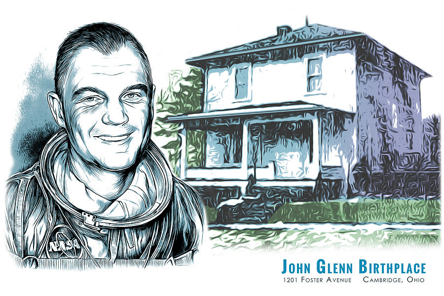 John Glenn Birthplace Drawing