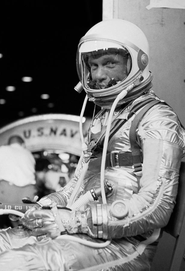 John Glenn Photograph - John Glenn Wearing A Space Suit by War Is Hell Store
