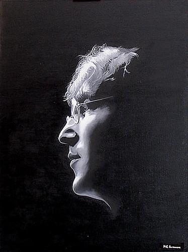 Portrait Painting - John Lennon Imagine by Kenneth-Edward Swinscoe