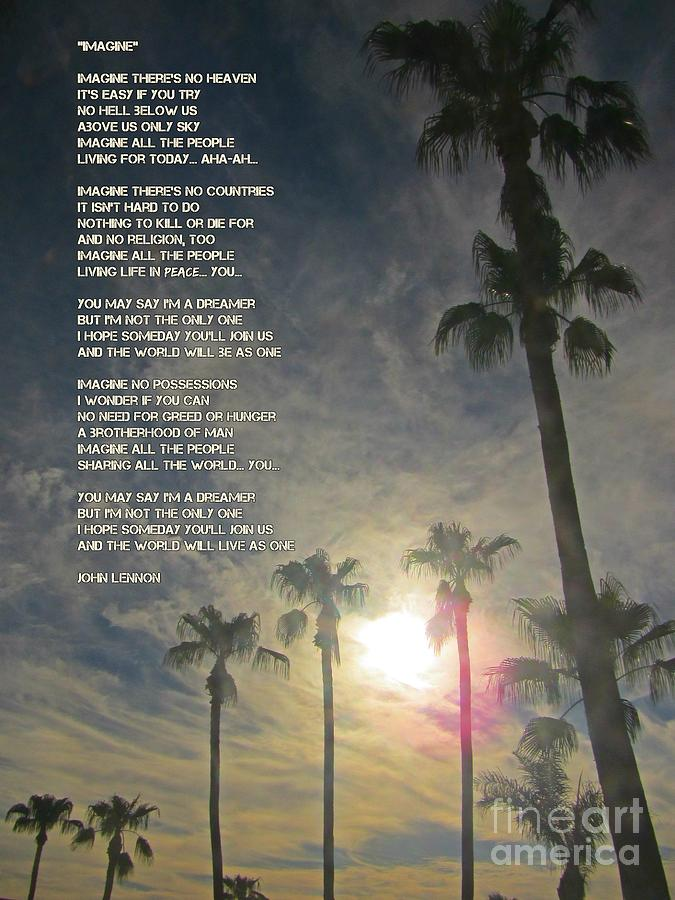John Lennon Imagine Lyrics Poster Painting By Malone