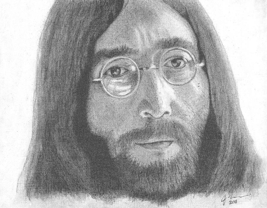 John Lennon Drawing - John Lennon by Jeff Ridlen