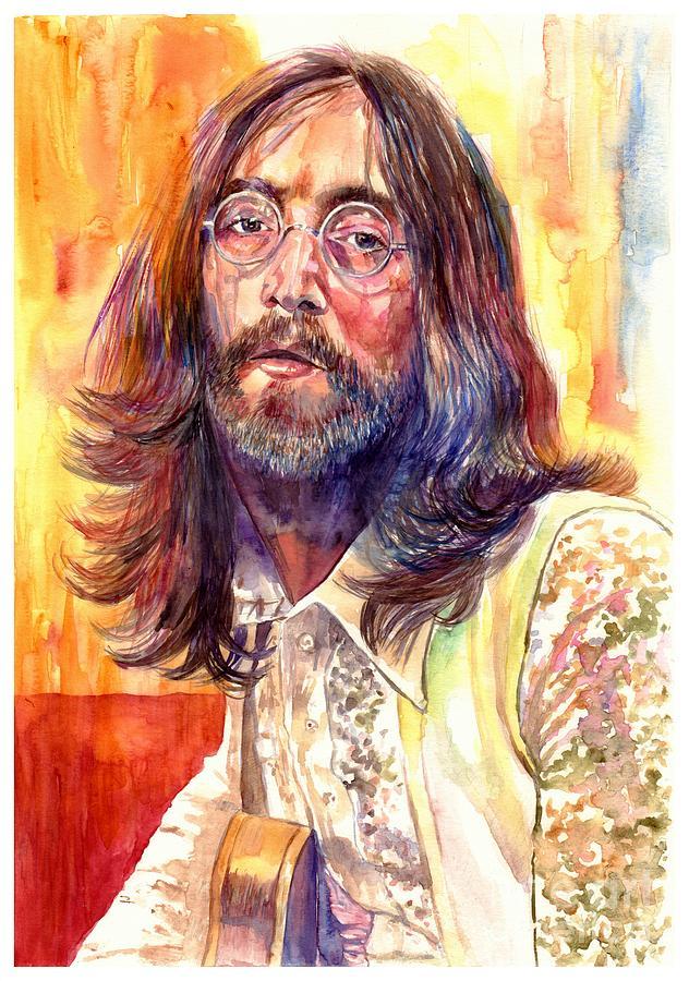 John Lennon Painting - John Lennon watercolor by Suzann Sines