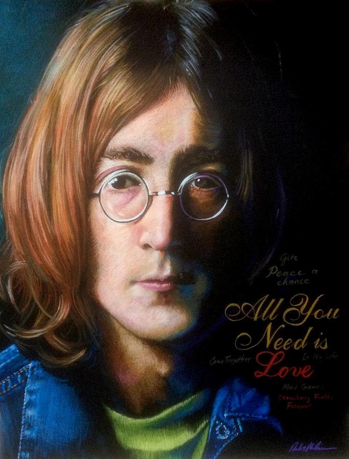 John Lennon - Wordsmith Drawing by Robert Korhonen